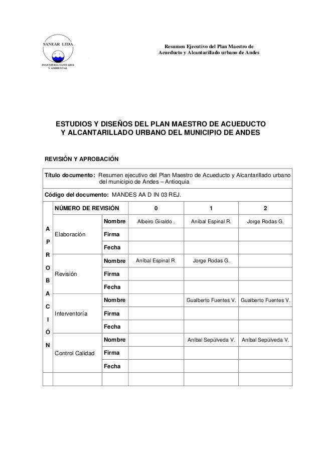 Resumen Ejecutivo del Plan Maestro de Acueducto y Alcantarillado urbano de Andes  ESTUDIOS Y DISEÑOS DEL PLAN MAESTRO DE A...
