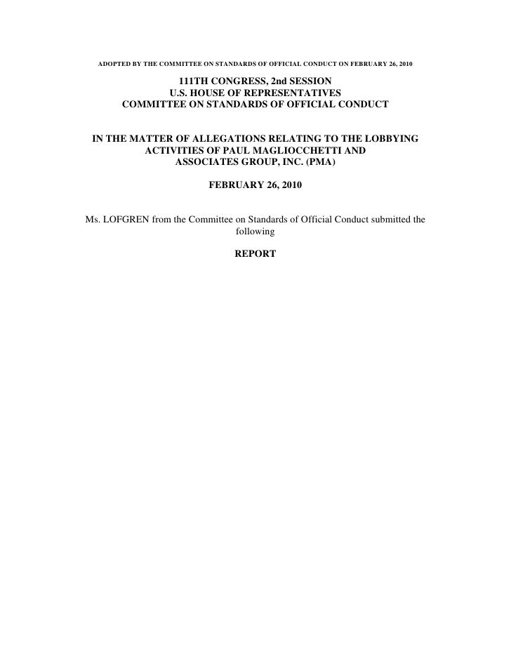 ADOPTED BY THE COMMITTEE ON STANDARDS OF OFFICIAL CONDUCT ON FEBRUARY 26, 2010                  111TH CONGRESS, 2nd SESSIO...