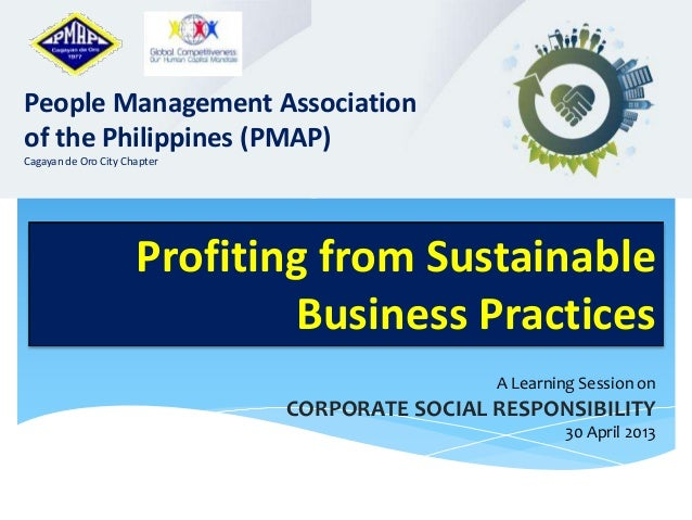 PMAP Learning Session on Corporate Social Responsibility (CSR) Profiting from Sustainable Business Practices People Manage...
