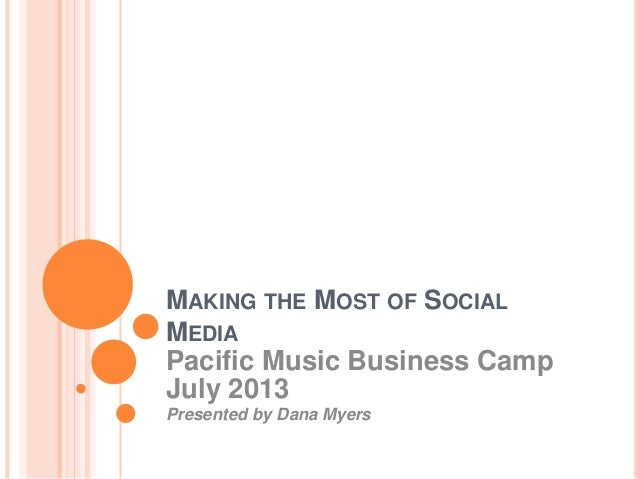 MAKING THE MOST OF SOCIAL MEDIA Pacific Music Business Camp July 2013 Presented by Dana Myers