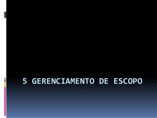 5 GERENCIAMENTO DE ESCOPO