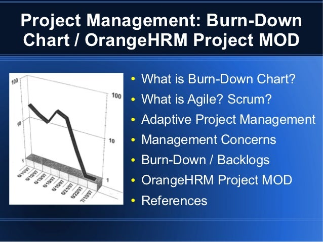 Project Management: Burn-DownChart / OrangeHRM Project MOD           ●   What is Burn-Down Chart?           ●   What is Ag...