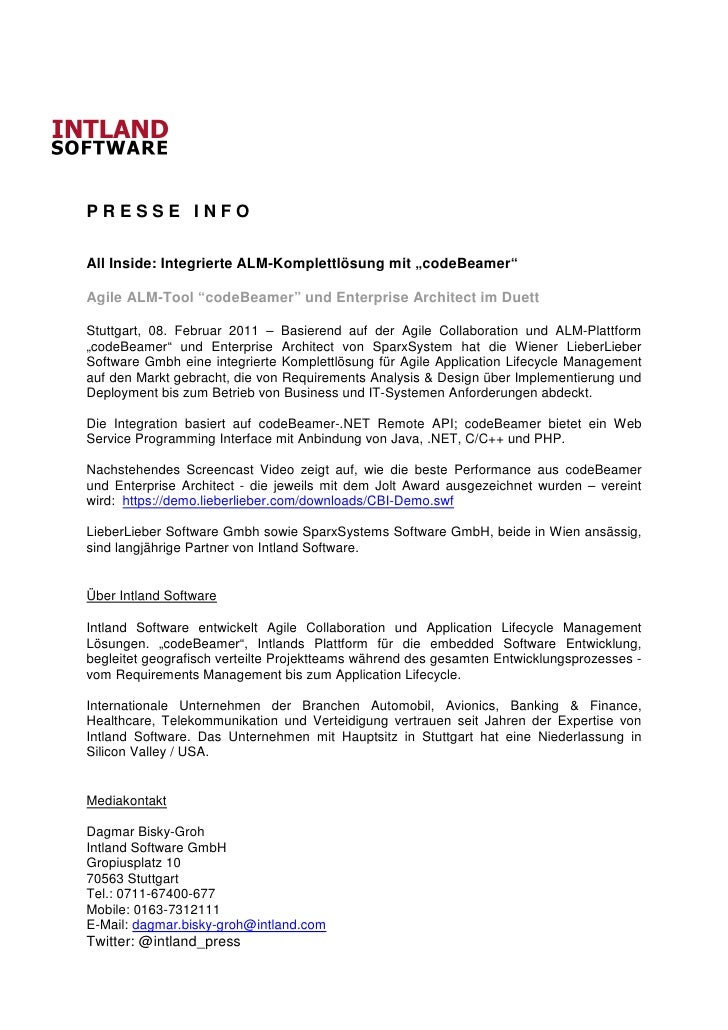 "PRESSE INFOAll Inside: Integrierte ALM-Komplettlösung mit ""codeBeamer""Agile ALM-Tool ""codeBeamer"" und Enterprise Architect..."