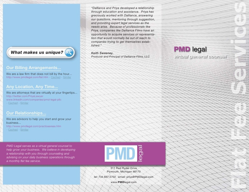 PMD Legal Flat Fee Services Brochure