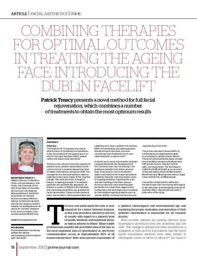 Combining therapies for optimal outcomes in treating the ageing face:introducing the DUBLiN Facelift PatrickTreacypresents...