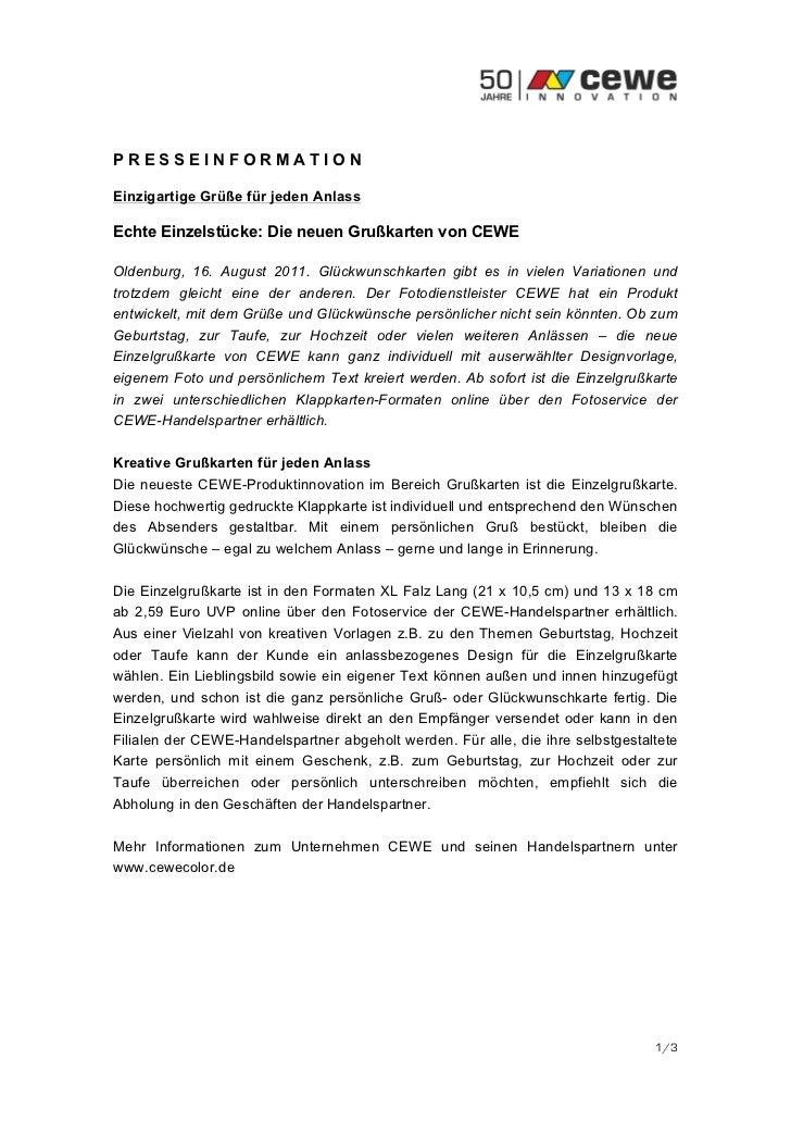 PRESSEINFORMATIONEinzigartige Grüße für jeden AnlassEchte Einzelstücke: Die neuen Grußkarten von CEWEOldenburg, 16. August...