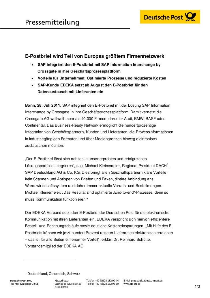 Pressemitteilung             E-Postbrief wird Teil von Europas größtem Firmennetzwerk                        SAP integrie...