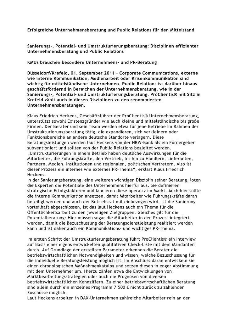 Erfolgreiche Unternehmensberatung und Public Relations für den MittelstandSanierungs-, Potential- und Umstrukturierungsber...