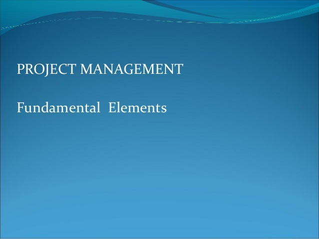 PROJECT MANAGEMENTFundamental Elements