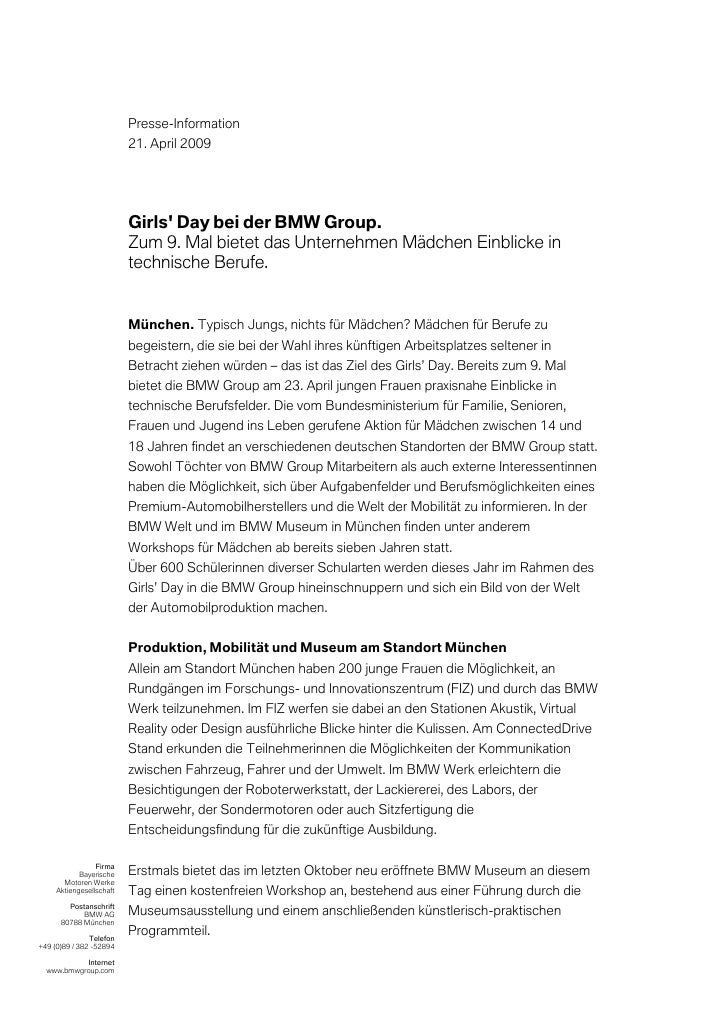 Presse-Information                          21. April 2009                          Girls Day bei der BMW Group.          ...