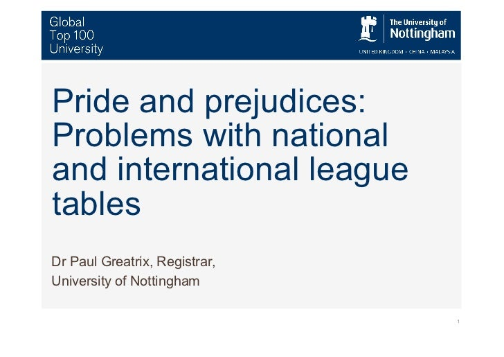 Pride and Prejudices: league tables aua 2011