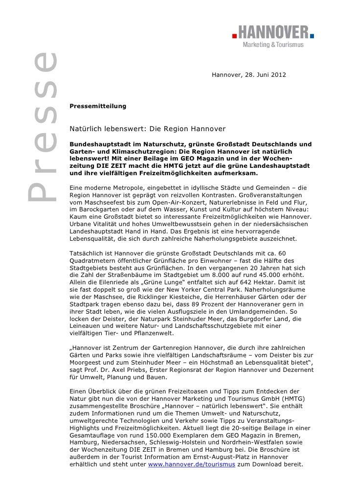Presse                                                          Hannover, 28. Juni 2012         Pressemitteilung         N...