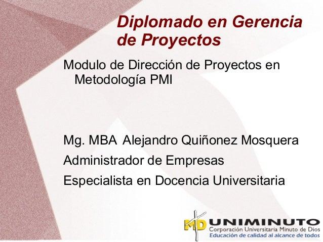 Diplomado en Gerencia de Proyectos Modulo de Dirección de Proyectos en Metodología PMI Mg. MBA Alejandro Quiñonez Mosquera...
