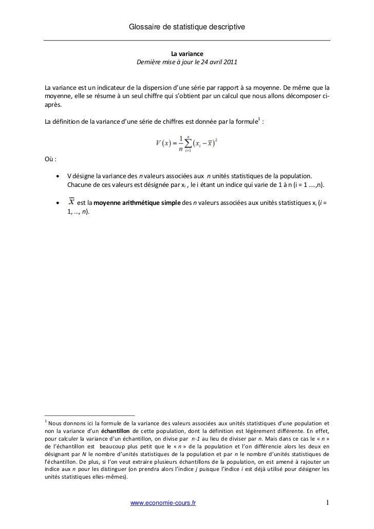 Glossaire de statistique descriptive                                                 La variance                          ...