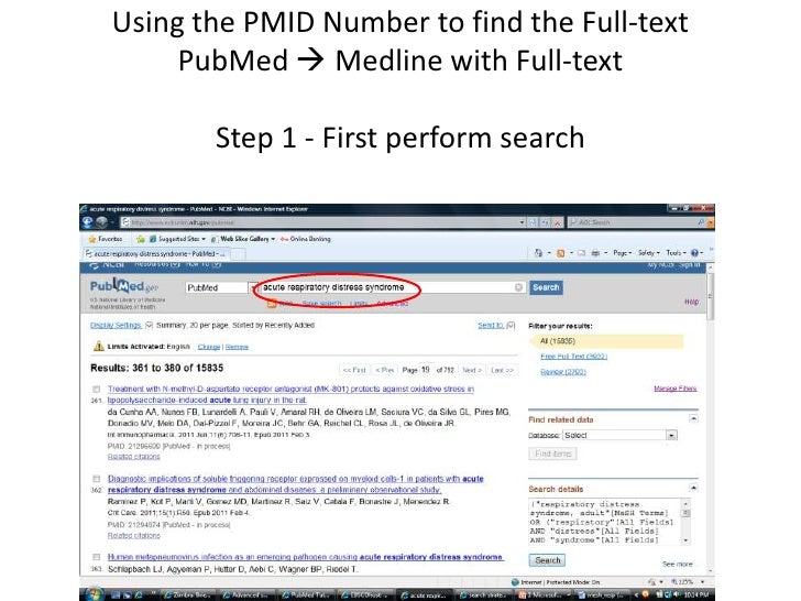 Using the PMID number to find full-text