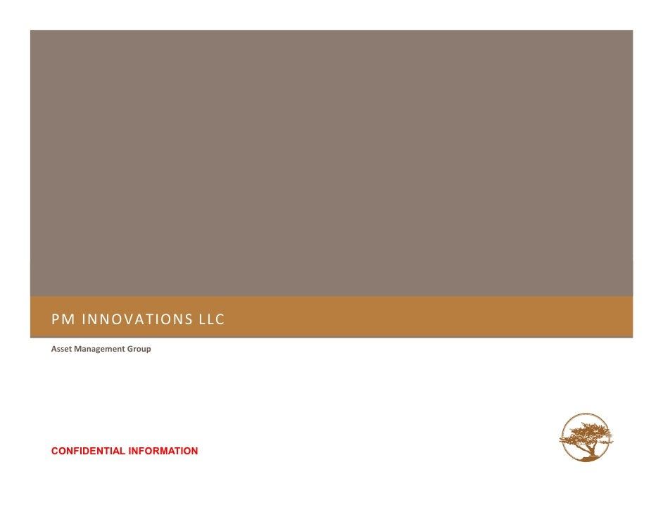 PM INNOVATIONS LLC Asset Management Group     CONFIDENTIAL INFORMATION