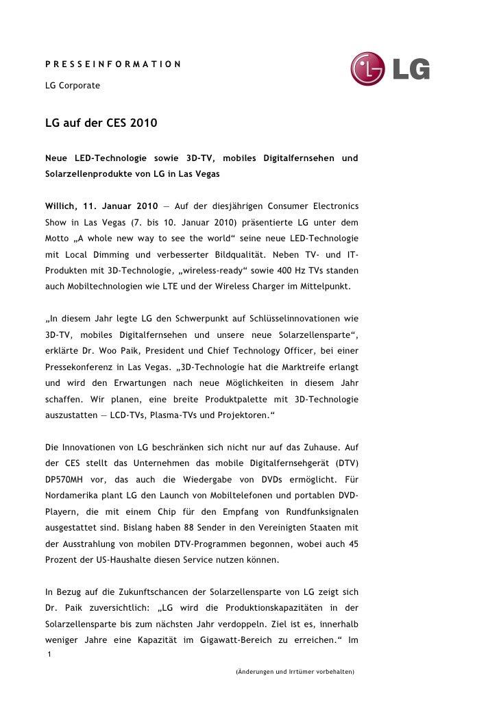 PRESSEINFORMATION  LG Corporate    LG auf der CES 2010  Neue LED-Technologie sowie 3D-TV, mobiles Digitalfernsehen und Sol...