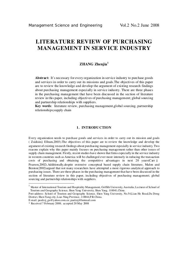 Management Science and Engineering                                              Vol.2 No.2 June 2008      LITERATURE REVIE...