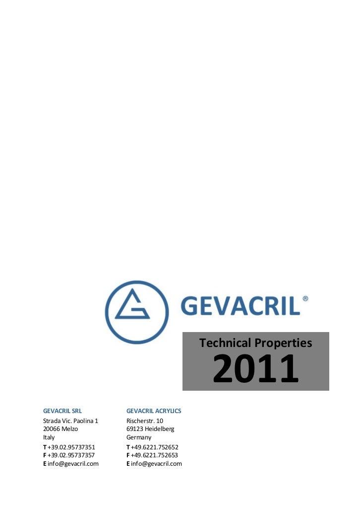 Pmma  properties data sheet_ gevacril