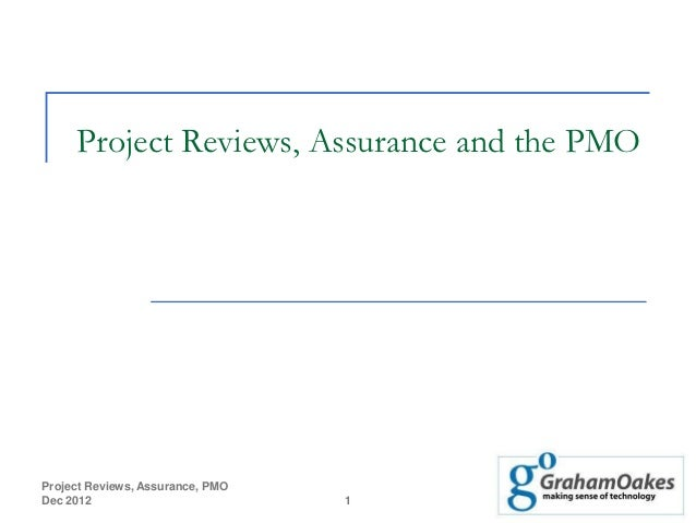 Project Reviews, Assurance and the PMOProject Reviews, Assurance, PMODec 2012                          1