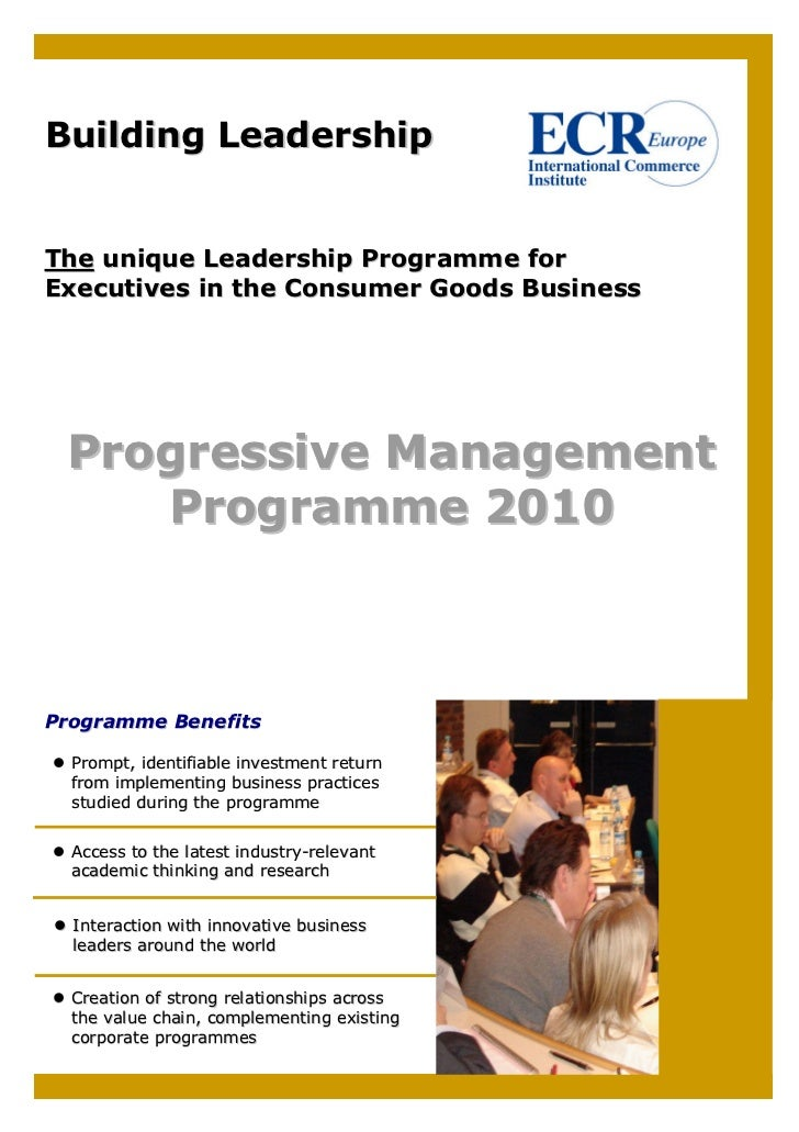 Building Leadership   The unique Leadership Programme for Executives in the Consumer Goods Business      Progressive Manag...