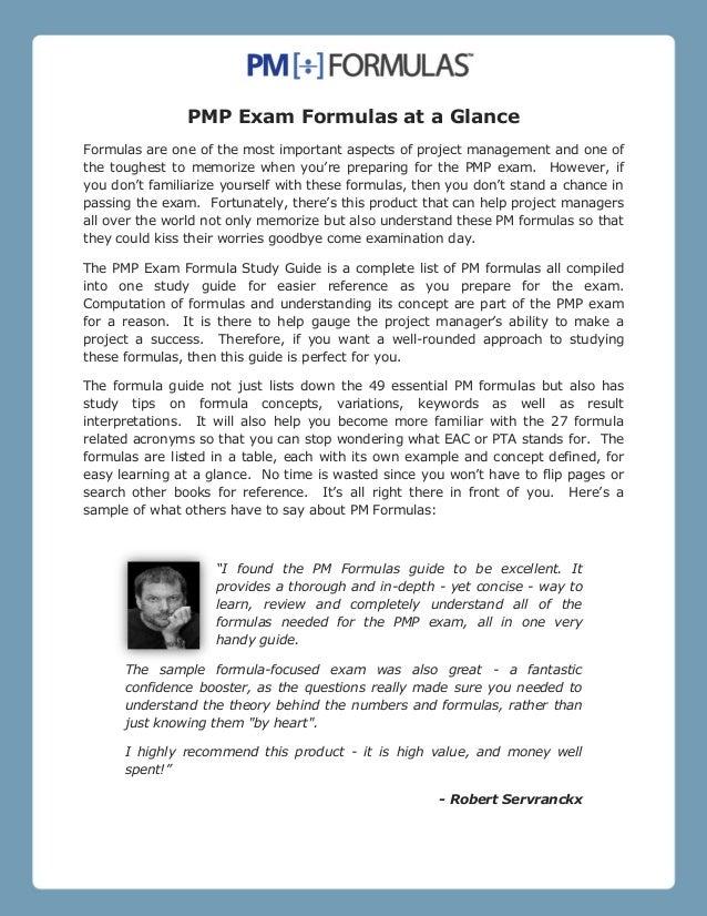 PMP Exam Formulas at a Glance