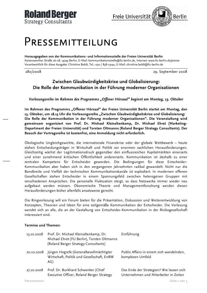 Pressemitteilung Herausgegeben von der Kommunikations- und Informationsstelle der Freien Universität Berlin Kaiserswerther...