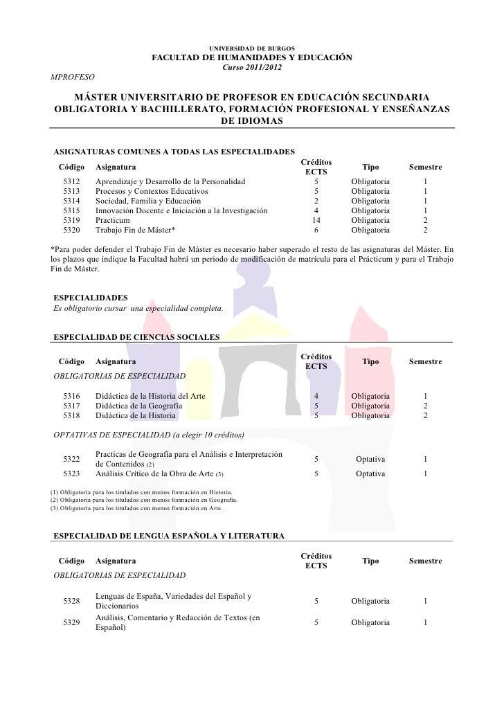 UNIVERSIDAD DE BURGOS                                    FACULTAD DE HUMANIDADES Y EDUCACIÓN                              ...