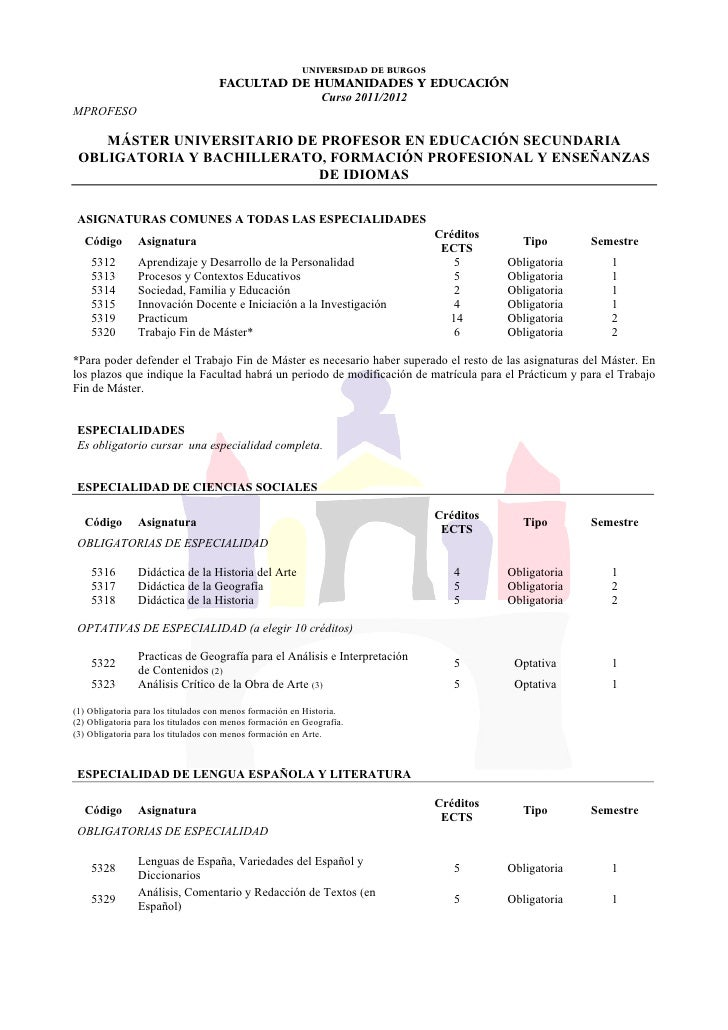 MÁSTER UNIVERSITARIO DE PROFESOR EN EDUCACIÓN SECUNDARIA OBLIGATORIA Y BACHILLERATO, FORMACIÓN PROFESIONAL Y ENSEÑANZAS DE IDIOMAS