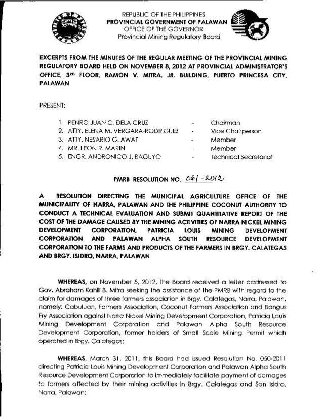 Provincial Mining Regulatory Board (PMRB) Resolution 61