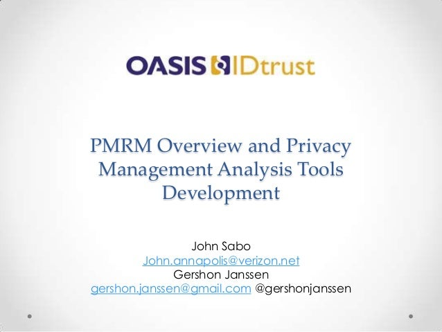 OASIS PMRM overview and tools #EIC2014: Sabo and Janssen