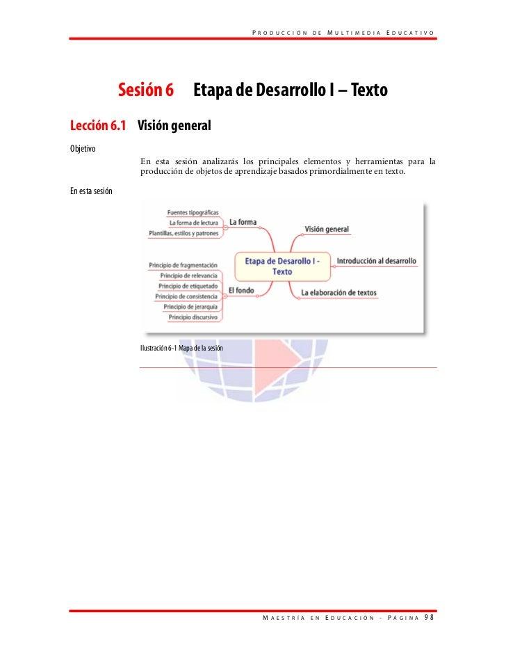PRODUCCIÓN DE MULTIMEDIA EDUCATIVO                 Sesión 6 Etapa de Desarrollo I – TextoLección 6.1 Visión generalObjetiv...