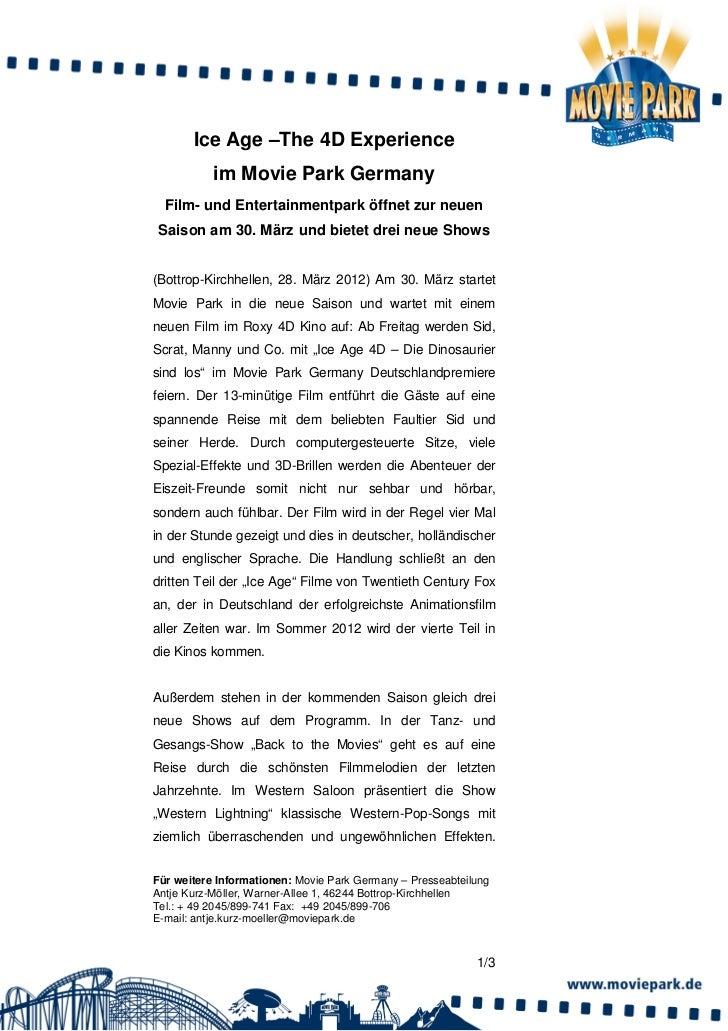 Ice Age –The 4D Experience           im Movie Park Germany  Film- und Entertainmentpark öffnet zur neuenSaison am 30. März...