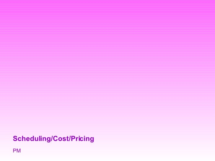 Scheduling/Cost/Pricing PM
