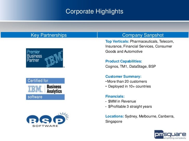 Corporate HighlightsKey Partnerships                      Company Sanpshot                            Top Verticals: Pharm...