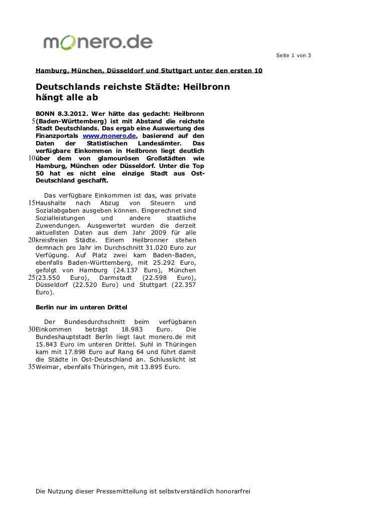 Seite 1 von 3  Hamburg, München, Düsseldorf und Stuttgart unter den ersten 10  Deutschlands reichste Städte: Heilbronn  hä...