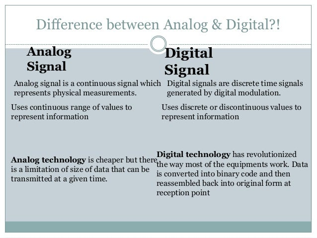 analog and digital comparison essay What's the difference between analog and digital analog and digital signals are used to transmit information, usually through electric signals in both these technologies, the information, such as any audio or video, is transformed into electric signals.