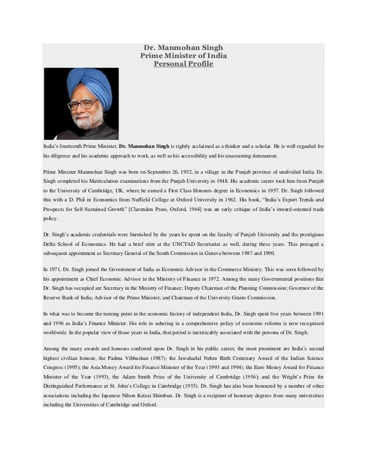 Dr. Manmohan Singh                                             Prime Minister of India                                    ...