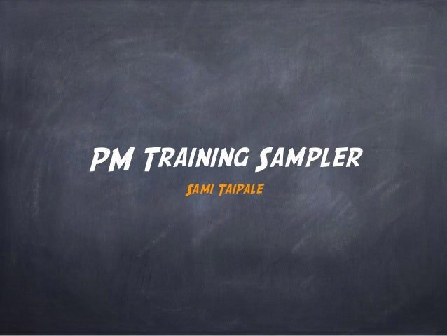 Project Manager Training Sampler