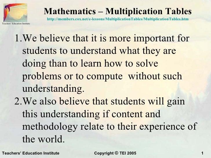 Mathematics – Multiplication Tables                                http://members.cox.net/e-lessons/MultiplicationTables/M...