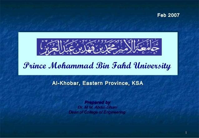 11 Al-Khobar, Eastern Province, KSAAl-Khobar, Eastern Province, KSA Prepared byPrepared by Dr. M.M. Abdul-GhaniDr. M.M. Ab...