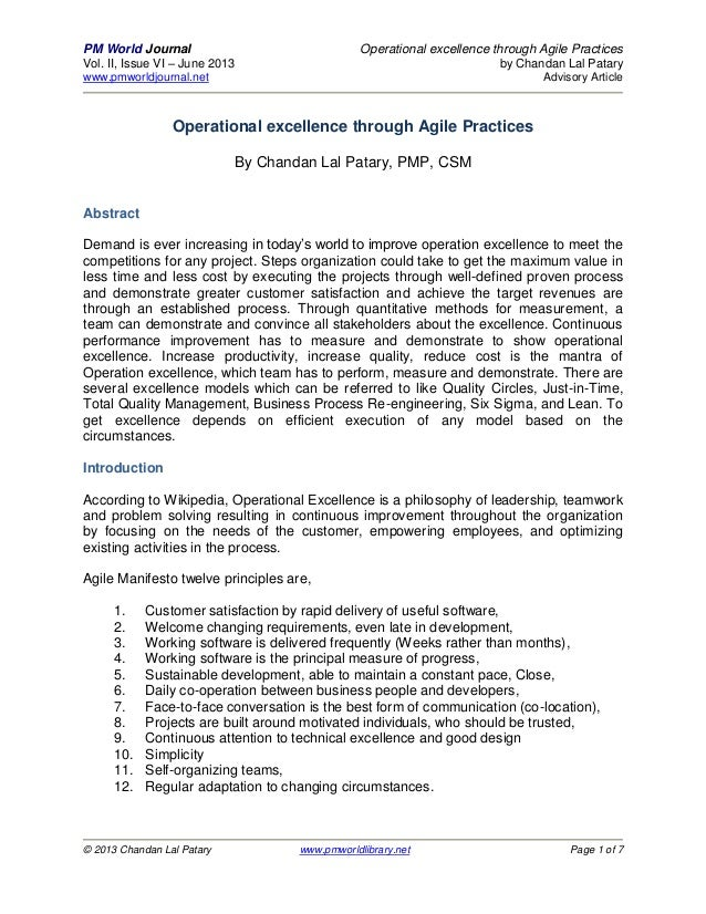 PM World Journal Operational excellence through Agile PracticesVol. II, Issue VI – June 2013 by Chandan Lal Patarywww.pmwo...