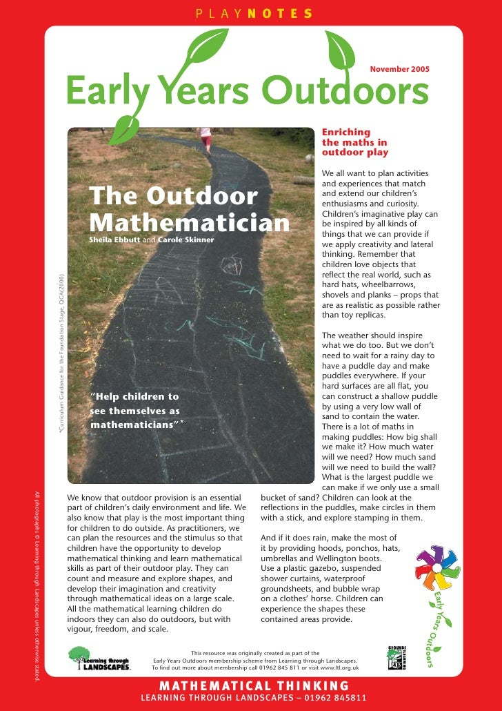 The Outdoor Mathematician: Early Years Outdoors Learning