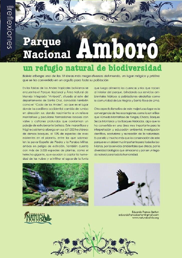 Parques Nacionales de Bolivia: El Parque Nacional Amboró