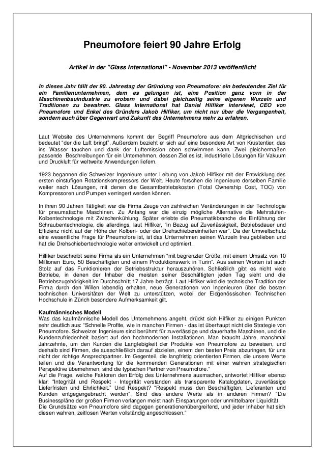 """Pneumofore feiert 90 Jahre Erfolg Artikel in der """"Glass International"""" - November 2013 veröffentlicht In dieses Jahr fällt..."""