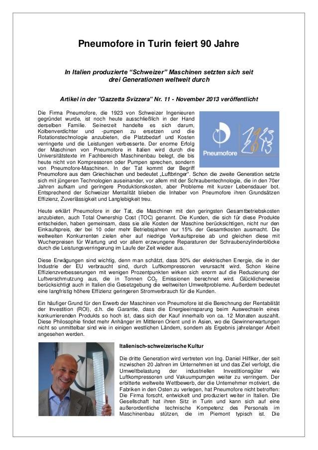 """Pneumofore in Turin feiert 90 Jahre In Italien produzierte """"Schweizer"""" Maschinen setzten sich seit drei Generationen weltw..."""