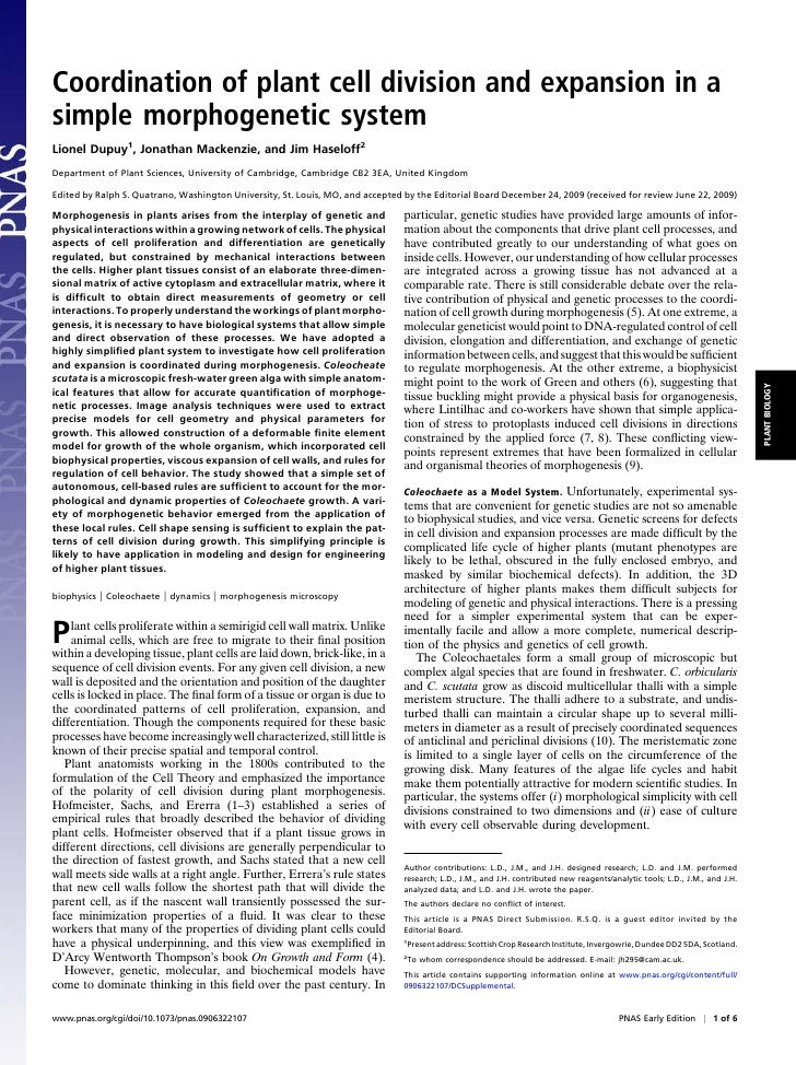 Coordination of plant cell division and expansion in a simple morphogenetic system Lionel Dupuy1, Jonathan Mackenzie, and ...