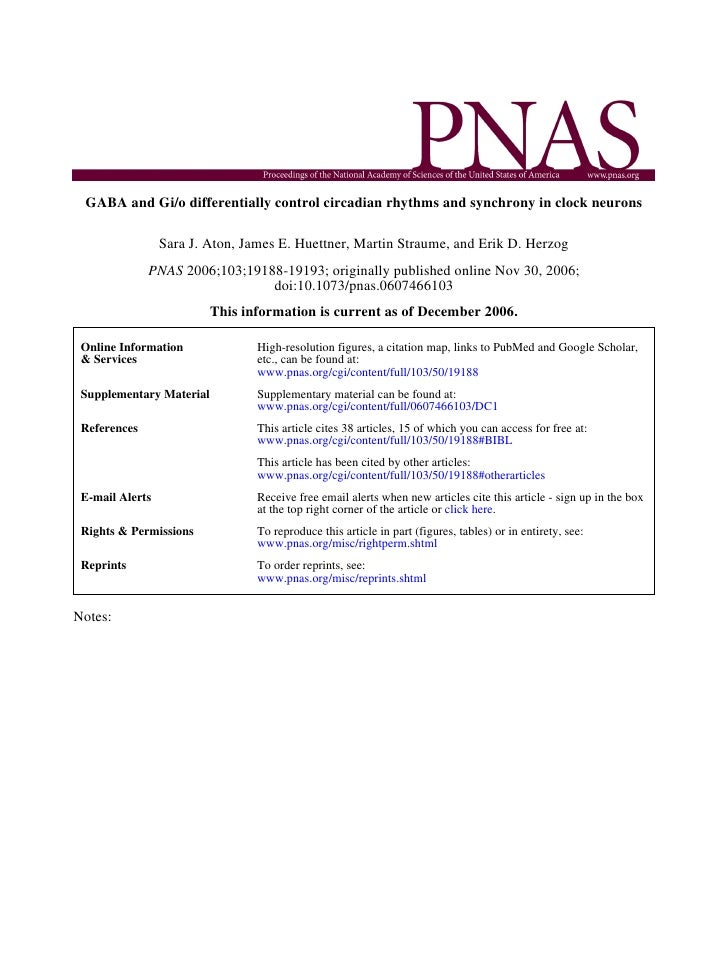 GABA and Gi/o differentially control circadian rhythms and synchrony in clock neurons                   Sara J. Aton, Jame...