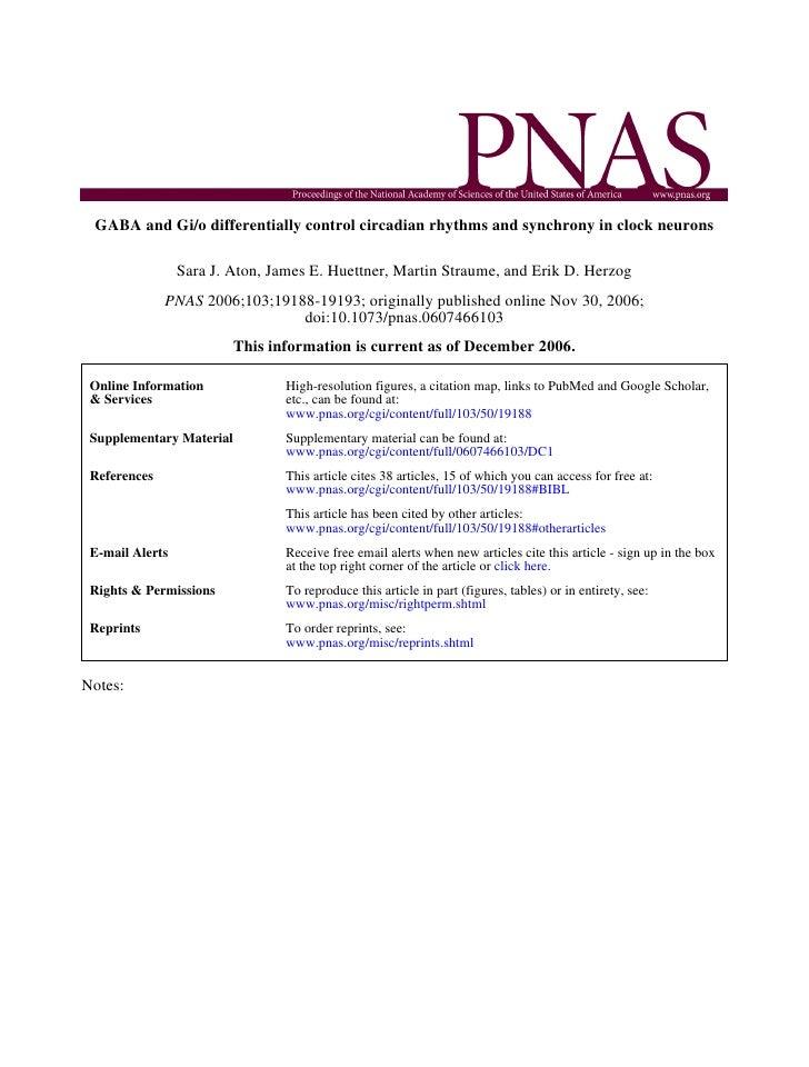 Aton et al., PNAS 2006 - GABA and Gi/o differentially control circadian rhythms and synchrony in clock neurons.