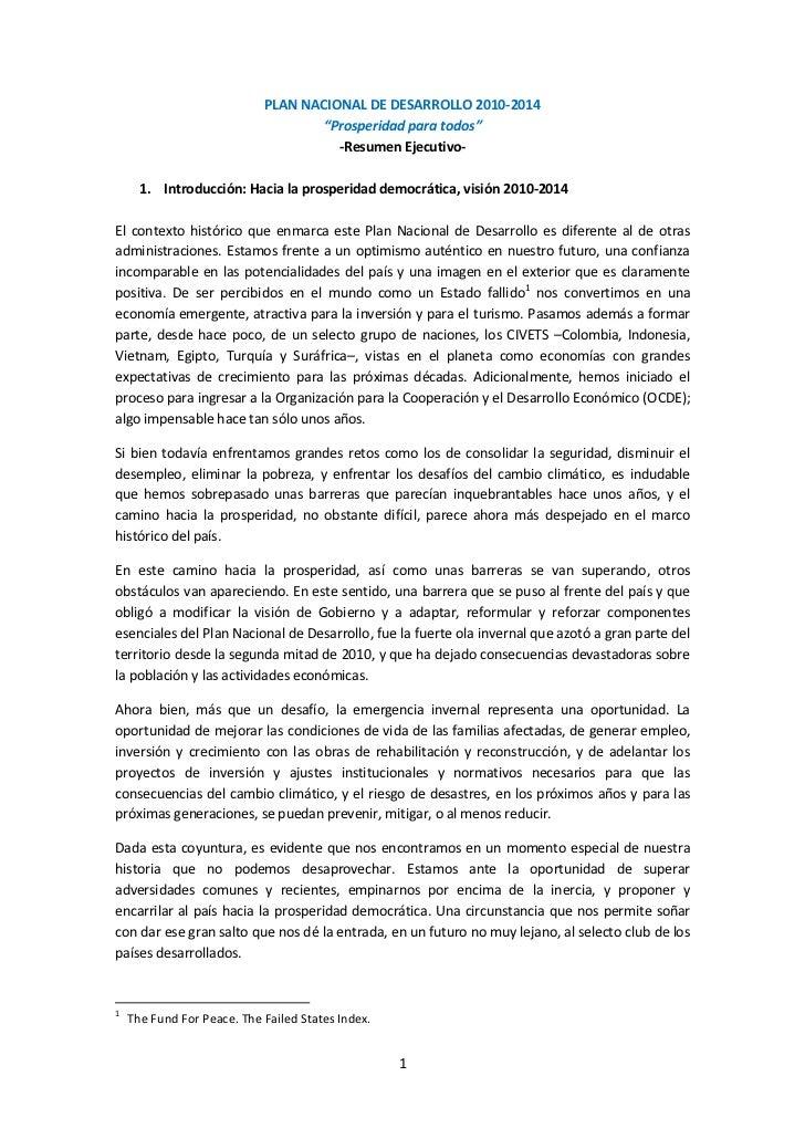 """PLAN NACIONAL DE DESARROLLO 2010-2014                                    """"Prosperidad para todos""""                         ..."""